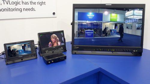 Alguns dos monitores LED e OLED em exibição no estande.